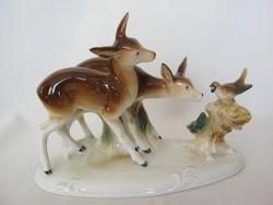 Lippelsdorfi porcelán őzike pár kismadárral