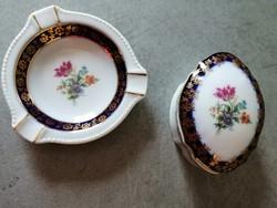 Martinroda-i német porcelán hamutál és ékszertartó együtt