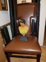 Szecessziós öntöttvas mellszobor, római asszonyságról, 30 cm magas, rémisztően súlyos