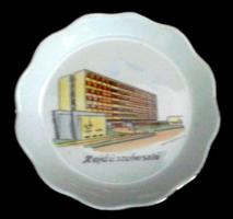 Régi aquincumi porcelán Hajdúszoboszló tájképes tálka