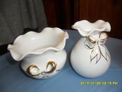 Kaspó és váza együtt aranyozott maslis minta