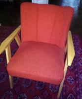 MID-CENTURY  RETRO DESIGN fa karfás fotel, szék + ajándék : 1 db fa dohányzóasztal - ülőgarnitúra