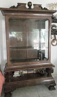 Antik vitrin, faragott, intarziás, szekrény az 1800-as évek végéről  - 1900-as évek elejéről