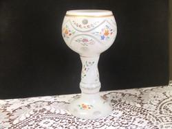 Csiszolt,hántolt kézzel festett üveg váza