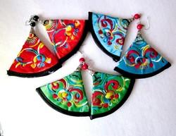 Hímzett selyem fülbevaló 3 színben
