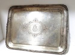 Ezüst monogramos díszes tálca kínáló EZÜST 1088 gr