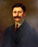 """Oskó Lajos ( 1865-1922 ) """" Bajúszos férfi portréja """" Pairs 1912"""