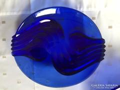 Csodás, kék színű nagy, modern üvegtál - big blue glass bowl (15)