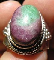 925 ezüst gyűrű 17,9/56,2 mm, rubin zoizitban drágakővel