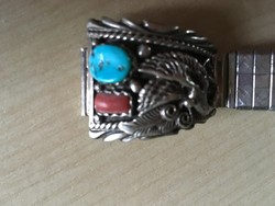 Karkötő-ÓRÁHOZ-Navajo ezüst-Sterling-+ fém rugós karperec-