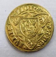 Arany gulden utánveret, Jülich Duché Reinald, anyaga aranyozott  800 ezüst, átmérő 22,5 mm
