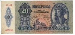 20 pengő 1941 II. alacsony sorszám 000232