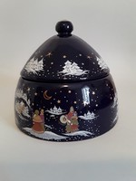 Vintage nagyméretű,aranyozott,téli jelenetes porcelán,kobalt kék sütitartó,keksztartó,konyhai tároló