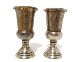 Ezüst 25-ik házassági évfordulóra készített kehely pohár párban Pista - Annuska 1912-37. EZÜST 122gr
