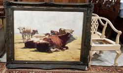 Kövesdy Géza (1887-1950) szignós olajfestménye sérült keretben