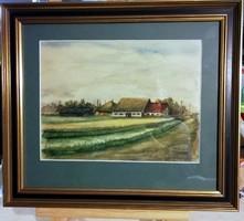 Szignált gyönyörű akvarell, gyönyörű keretben ( teljes méret 45 x 39 cm )