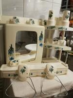 Retro SYLA fürdőszöba felszerelés, 15 db-os, teljesen komplett, nagyon szép állapotú