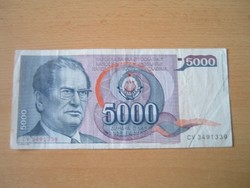 JUGOSZLÁVIA 5000 DINÁR 1985 J.B.TITO CV