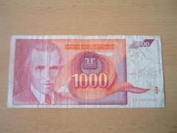 JUGOSZLÁVIA 1000 DINÁR 1992 ZA, előtag ZA NIKOLA TESLA