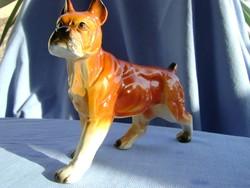 Német porcelán boxer kutya figura  különleges retro  darab
