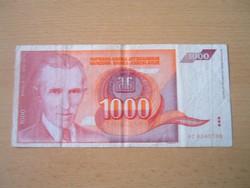 JUGOSZLÁVIA 1000 DINÁR 1992 AC  NIKOLA TESLA