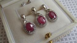 Nyári akció! Csak 10 napig !! - 35 % Ezüst fülbevaló és medál szett - rubin kő díszítéssel új