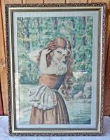 Horavecz?: Bájos cseresznyét szedő lányka, akvarell