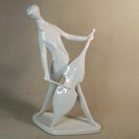 Zsolnay art deco csellós figura fehér