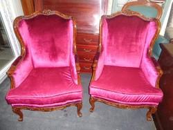 Antik barokk fotelek párban bordó bársony kárpittal