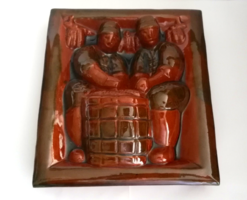 Gyönyörű térhatású iparművész mázas kerámia, csempe fali dísz