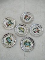 6 db,porcelánbetétes,fém poháralátét