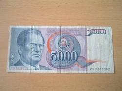 JUGOSZLÁVIA 5000 DINÁR 1985 J.B.TITO CN