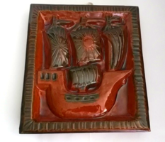 Retro iparművész mázas fali kerámia,dísz csempe