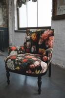 Bécsi ónémet felújított hibátlan virágos bársony fotel