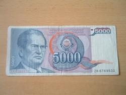 JUGOSZLÁVIA 5000 DINÁR 1985 J.B.TITO ZB