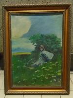 Bokor árnyékában pihenő asszony festmény