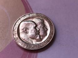 """1911""""F"""" ezüst 3 márka Württemberg 16,67 gramm 0,900 Ritka"""