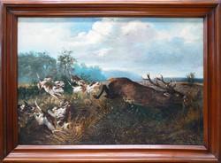 KEDVEZŐ ÁRON! Vadászat témájú festmény az 1800-as évek végéről. Részlet gazdag kidolgozás.