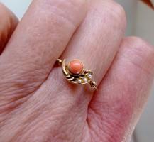Szépséges  antik korall,gyöngy arany gyűrű