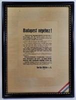 Budapest népéhez! Reprint keretezett kép