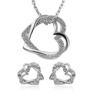 Kristályos Dupla Szív Szíves Női Nyaklánc + Fülbevaló Szett Ezüst