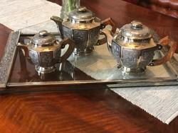 Ezüst 900-as finomságú, art deco teás-kávés 2048 gramm