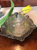 Ezüst sajt/vajtartó üvegbúrával