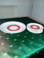 Porcelán süteményes készlet piros mintával