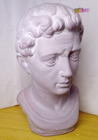 Kerámia szobor, Augustus római császár fejszobra Olaszországból, stílusos, rusztikus dekoráció.
