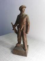 15 év emlékére bronz munkásőr szobor