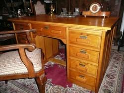 Teljesen felújított antik Art Deco tölgy főnöki Lingel típusú íróasztal, karfás íróasztal székkel