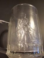 Rika antik jelenetes magyar üveg pohár