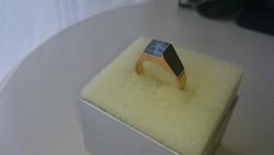 Arany 14 karátos akvamarin kővel díszített Magyar fémjeles gyűrű