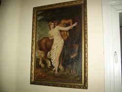 Kentaur és szerelme szignált antik festmény!